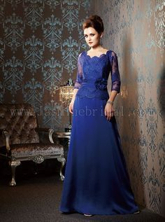 Wedding party attire is all about lace right now! This Jade Couture shown in cobalt is a stylish example of lace for MOM.