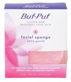 Buf-Puf Reusable Facial Sponge, Extra Gentle, - 1 ea. Gently cleanses away makeup, dirt and excess oil. Great preparation for moisturizers, makeup and sunless tanning. Extra-gentle sponge good for delicate, sensitve skin; normal to dry skin; and daily cleansing with mild exfoliation. Thoroughly cleans and refreshes your skin. Use every day with your favorite soap or cleanser.