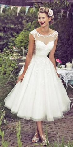 Gorgeous Tea Length Wedding Dresses ❤ See more: http://www.weddingforward.com/tea-length-wedding-dresses/ #weddings