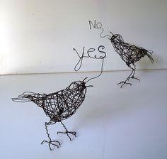 Handmade Wire Bird Sculptures - YES NO Birds - Wire Animal Sculpture