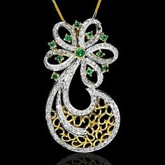 18K Y Gold Natural 1.75 Cts Diamond Emerald Pendant With Chain Jewelry Valentine #Pendant