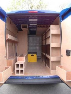van shelving - Google Search Van Storage, Trailer Storage, Truck Storage, Trailer Shelving, Van Organization, Van Shelving, Work Trailer, Mobile Workshop, Enclosed Trailers