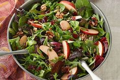 Serve a sweet tart Serve a sweet tart Apple-Cranberry Salad Toss at a dinner party or any night! You only need 15 minutes to create our Healthy Living apple-cranberry salad. Kraft Foods, Kraft Recipes, Apple Cranberry Salad, Apple Salad, Pomegranate Salad, Side Salad Recipes, Cooking Recipes, Healthy Recipes, Healthy Foods