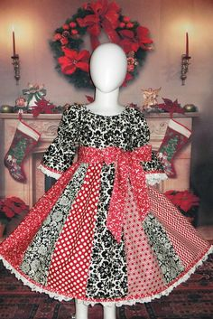 c2e8eda15a18 Cotton Boutique Peasant Dress Christmas Holiday Red Black Infant Baby 6 12  18 24 month Toddler