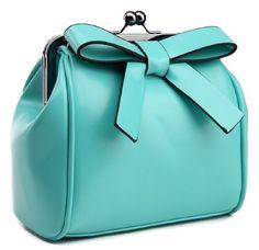 Heshe Women's Pu Bowknot Doctor Style Tote Cross Body Shoulder Bag Satchel Handbag (Blue)