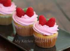 Vanilla Cupcakes with Raspberry Buttercream Frosting