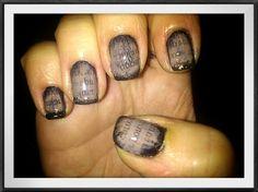 Ancient Newspaper Nail Art by Love4Beauty - Nail Art Gallery nailartgallery.nailsmag.com by Nails Magazine www.nailsmag.com #nailart