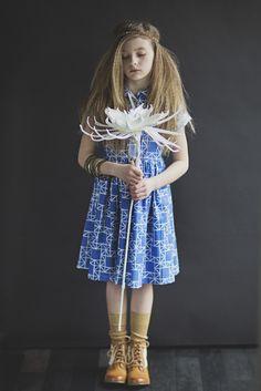 Blue Origami Girls Shirtdress by Fleur + Dot. #fleuranddothandmade