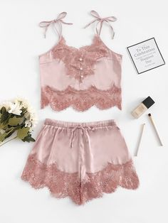 Shop Contrast Lace Cami Top & Shorts With Thong online. SHEIN offers Contrast Lace Cami Top & Shorts With Thong & more to fit your fashionable needs. Sleepwear Women, Lingerie Sleepwear, Lingerie Set, Loungewear, Nightwear, Lingerie Dress, Luxury Lingerie, Cami Tops, Ropa Interior Babydoll