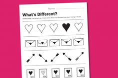 What's Different, Valentine? Free printable. It's a simple worksheet to help you teach the concept of same and different.