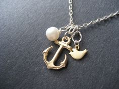 Anchor Necklace.  Gold Sparrow Pearl Necklace.  Nautical Necklace.  Teeny tiny necklace.  Friendship necklace.  Mother Big Sister.