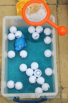 Fishing for the alphabet with ping pong balls  Could adapt and use as a memory verse activity.