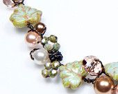 Green Peach Beaded Necklace, Nature Jewelry, Floral Necklace