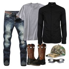 Shannon 10 by mountain-girl-lynn on Polyvore featuring polyvore Versus TravelSmith Ariat Oakley Under Armour men's fashion menswear clothing
