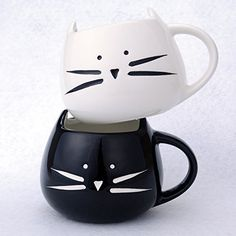 2 Pack Ilyever Funny Cute Cat Coffee Mugs for Crazy Cat Lovers Christmas Gift Cat Ceramic Cups for Coffee Tea Milk, Black and White Cat Coffee Mug, Ceramic Coffee Cups, Funny Coffee Mugs, Cat Gifts, Gifts In A Mug, Thing 1, Cat Drinking, Cat Bag, Milk Cup