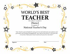 Best Teacher Certificate Templates Free Best Teacher Certificate Templates Free, Most People regularly get confused about preparing for great template. They frequently think that they must s. Free Printable Certificates, Award Certificates, Certificate Templates, Office Templates, Best Templates, Letter Templates, Best Teacher Quotes, Teacher Awards, Award Template