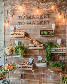 I like the lighting idea and perhaps lettering to mark different sections (dairy, fruits etc).,I do not like the crates in the wall.  - Marla Shake My Blog | Un mariage industriel et champêtre: