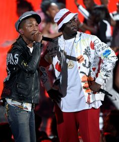 """Pharrell Williams, left, and Sean """"Diddy"""" Combs perform at the BET Awards at the Microsoft Theater o... - The Associated Press"""
