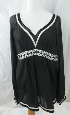 Nicole by Nicole Miller Women's Blouse Black White Beads Sequins Lined Size 10 | eBay $24.95