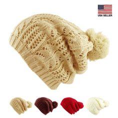 Womens Warm Winter Ski Crochet Knit Slouchy Pom Pom Beanie Beret Cap  Fashion Hat Dentelle Verte 01fd58554dc