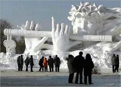 Can't say I've ever seen a better snow sculpture than this gem! I wonder how long it took to create that?