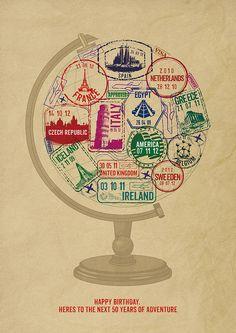 Personalised Passport Stamp Globe Print from notonthehighstreet.com
