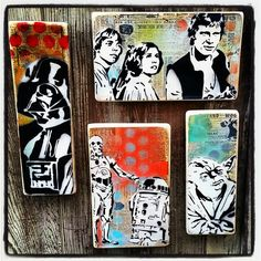 Star Wars Graffiti Paintings on Canvas Pop Art Style Original Artwork Stencil Urban Street Art  Set of Four Paintings by thefactory101 on Etsy