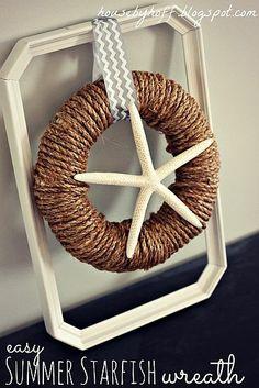 rope, straw wreath, starfish  http://www.housebyhoff.blogspot.com/2013/05/easy-summer-starfish-wreath.html