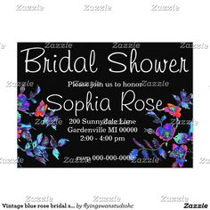 Vintage blue rose bridal shower invitation