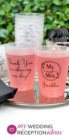 Reusable wedding cups are the green alternative to throw-away cups. Guests can take their cups home to use every day instead of throwing them away. Wedding Plastic Cups, Wedding Cups, Fall Wedding, Diy Wedding, Wedding Favors, Rustic Wedding, Dream Wedding, Wedding Reception, Wedding Stuff