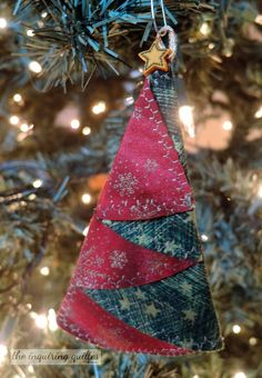 Folded Fabric Christmas Tree Ornament — The Inquiring Quilter Folded Fabric Ornaments, Quilted Christmas Ornaments, Burlap Christmas, Christmas Fabric, Handmade Ornaments, Christmas Sewing Projects, Christmas Crafts, Christmas Decorations, Christmas Ideas