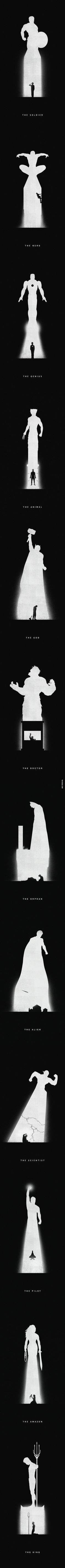 Very Cool Superhero Artwork.. I love minimalism...