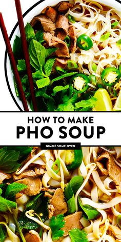 This Vietnamese pho soup recipe is made with the most amazing broth and your choice of beef chicken pork or shrimp Load up your bowls with rice noodles pile them high with all of your favorite fresh garnishes and enjoy Soup Recipes, Cooking Recipes, Healthy Recipes, Xmas Recipes, Free Recipes, Recipes With Pork Broth, Healthy Vietnamese Recipes, Recipes With Rice Noodles, Rice Noodle Soups