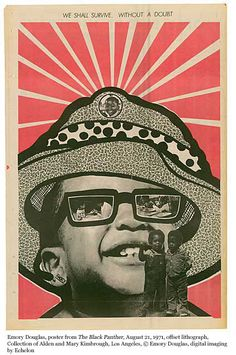 """Emory Douglas Poster for black panthers    """"People who were educators in the party suggested that we should start our own schools. The Oakland Community School had 200  kids and a waiting list of over 1000. The party had preschools and childcare centers all over the Bay Area and around the   country, from preschool on up to 9th grade.  We had a professional staff, we had people into academics from the universities"""