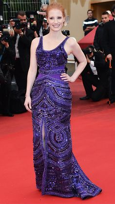 JESSICA CHASTAIN IN GIVENCHY, Cannes 2013 Chastain looked absolutely regal in this purple beaded Givenchy creation that popped on the red carpet.