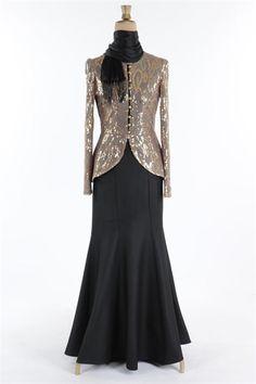 Ayşe Melek Düğmeli Payet Tesettür Abiye Elbise Siyah 1051