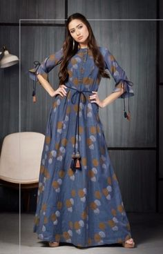 Indian gowns dresses - Four Buttons Coral Pure Viscose Chanderi with Hand Print Gown pc set) Indian Gowns Dresses, Pakistani Dresses, Modest Dresses, Stylish Dresses, Casual Gowns, Kurti Designs Party Wear, Kurta Designs, Blouse Designs, Dress Neck Designs