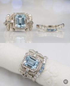 This absolutely stunning bridal set sets a big, bright emerald cut aquamarine as its stunning centerpiece. Dragonflies on each side of the center setting make this design sweetly personal and they're proportioned to fit perfectly with the center halo setting. A snug-fitting, curved diamond and aquamarine wedding band completes the ring set.