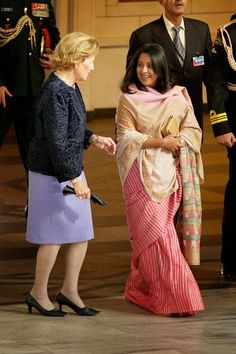 Queen Sonja of Norway (L) and daughter of The President of India Sharmistha Mukherjee attend a guided tour at the Oslo City Hall during Day-1 of the state visit from India on 13.10.2014 in Oslo, Norway.