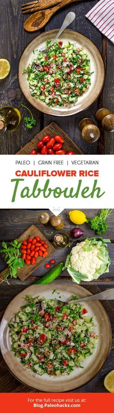 Juicy tomatoes, cucumbers, cauliflower rice, and parsley come together in this fresh #glutenfree #tabbouleh salad. Get the full recipe here: http://paleo.co/caulitabbouleh