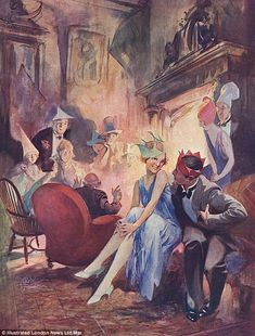 A Christmas Story by Charles Rebel Stanton, for The Tatler, 1929. Stanton was a commercial artist who worked regularly for the ILN. This image is a classic example of 1920s high spirits and glamour, but Stanton would go on to produce stark and powerful art on the Second World War