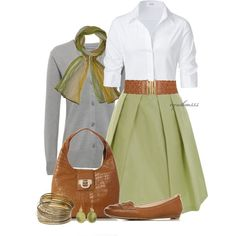 I like this whole outfit, but I adore the cut and color of this A-line skirt.
