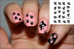 1 sheet L'eau Stickers Nail Art pour l'Ongle Maquillage de mignon Noir chat