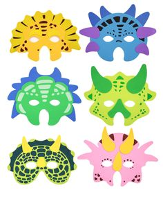 Fab for a dinosaur party - dinosaur mask. Dinosaur Mask, Dinosaur Crafts, Dinosaur Party Activities, Party Bag Toys, Party Bags, Party Fiesta, Dinosaur Birthday Party, Animal Masks, Mask Party