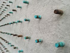 TURQUOISE CONCRETE SCULPTURE, WALL HUNG