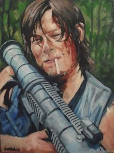 Daryl Dixon and Rocket Launcher The Walking Dead ORIGINAL painting on canvas