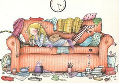 Time to Clean? After just one more page! I  promise!  Andrea Joseph (Artist, UK). It's a real problem...
