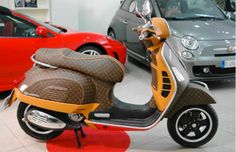 The Vespa began as a simple and affordable mode o transportation for crippled post-WWII Italy. The Piaggio Vespa GTS 300 Louis Vuitton Leather Edition cou Piaggio Vespa, Lambretta Scooter, Vespa Scooters, Motos Retro, Scooter Motorcycle, Motorcycle Design, Louis Vuitton, Motos Vespa, Super Bikes