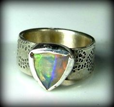 RESERVED FOR S Opal Gemstone ring, silver and  Ethiopian opal ring, sterling and opal ring by Marajoyce