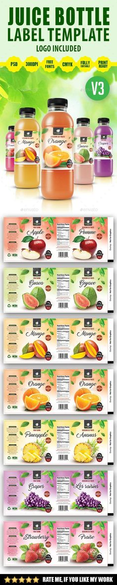 Juice Bottle Label Template Label templates, Juice bottles and Juice - labeltemplate